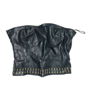 Forever21 Black leather Tube crop top SMALL